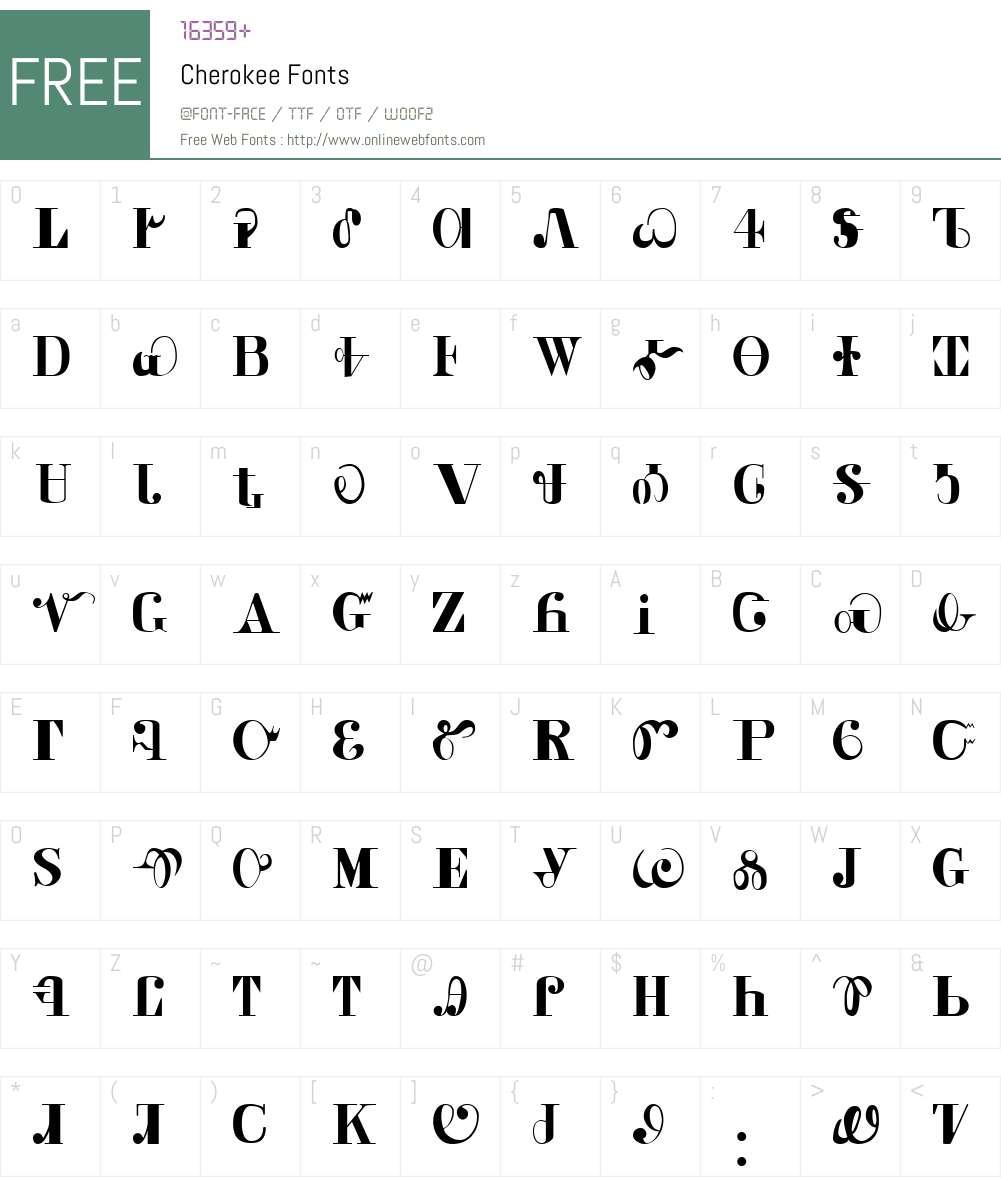 Cherokee Font Screenshots