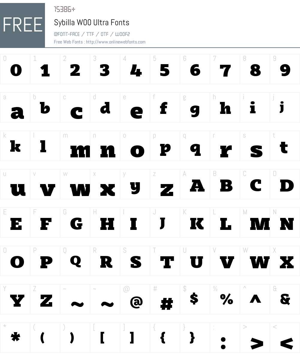 SybillaW00-Ultra Font Screenshots