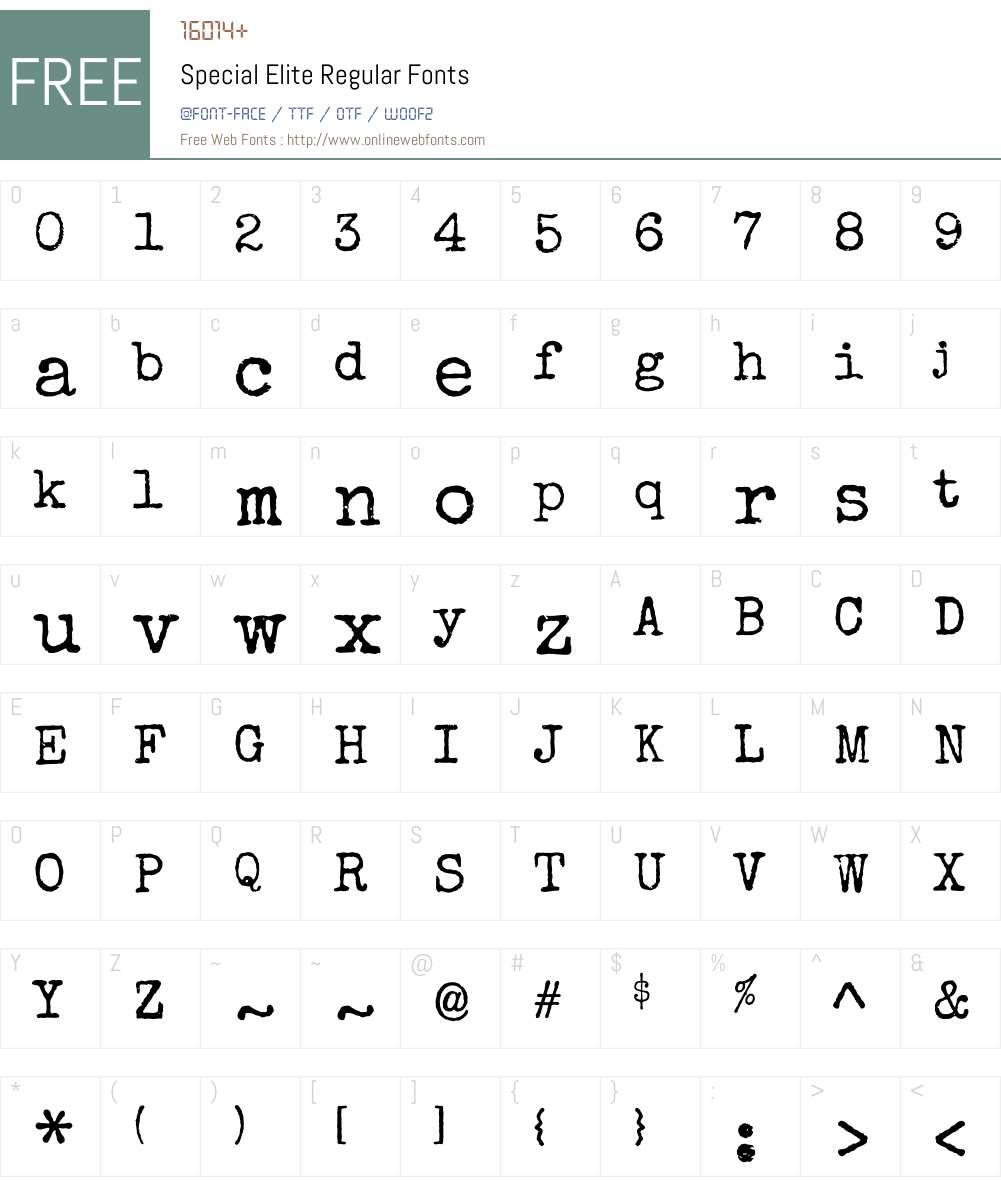 Special Elite Font Screenshots