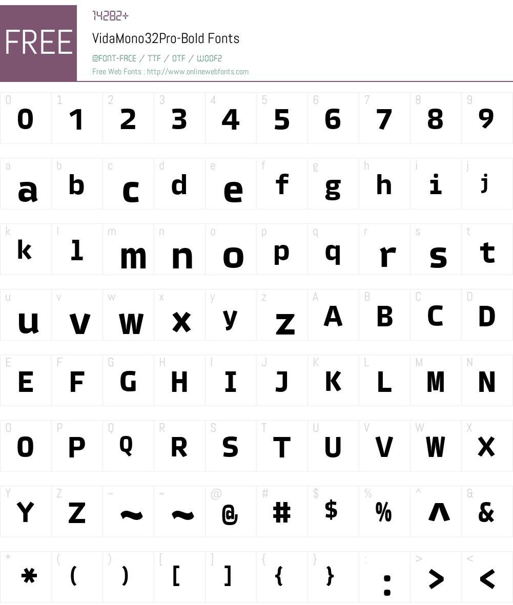 VidaMono32Pro-Bold Font Screenshots