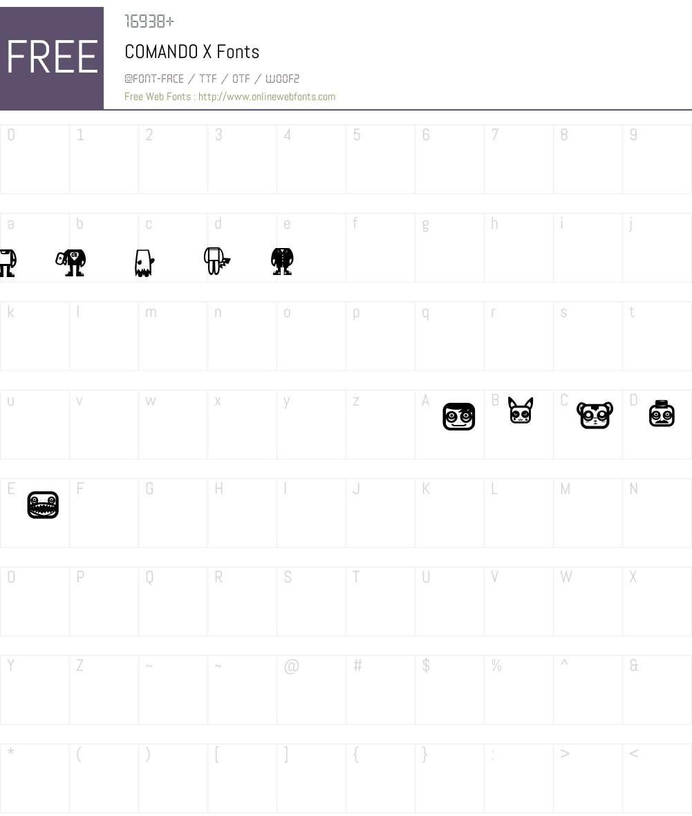 COMANDO X Font Screenshots