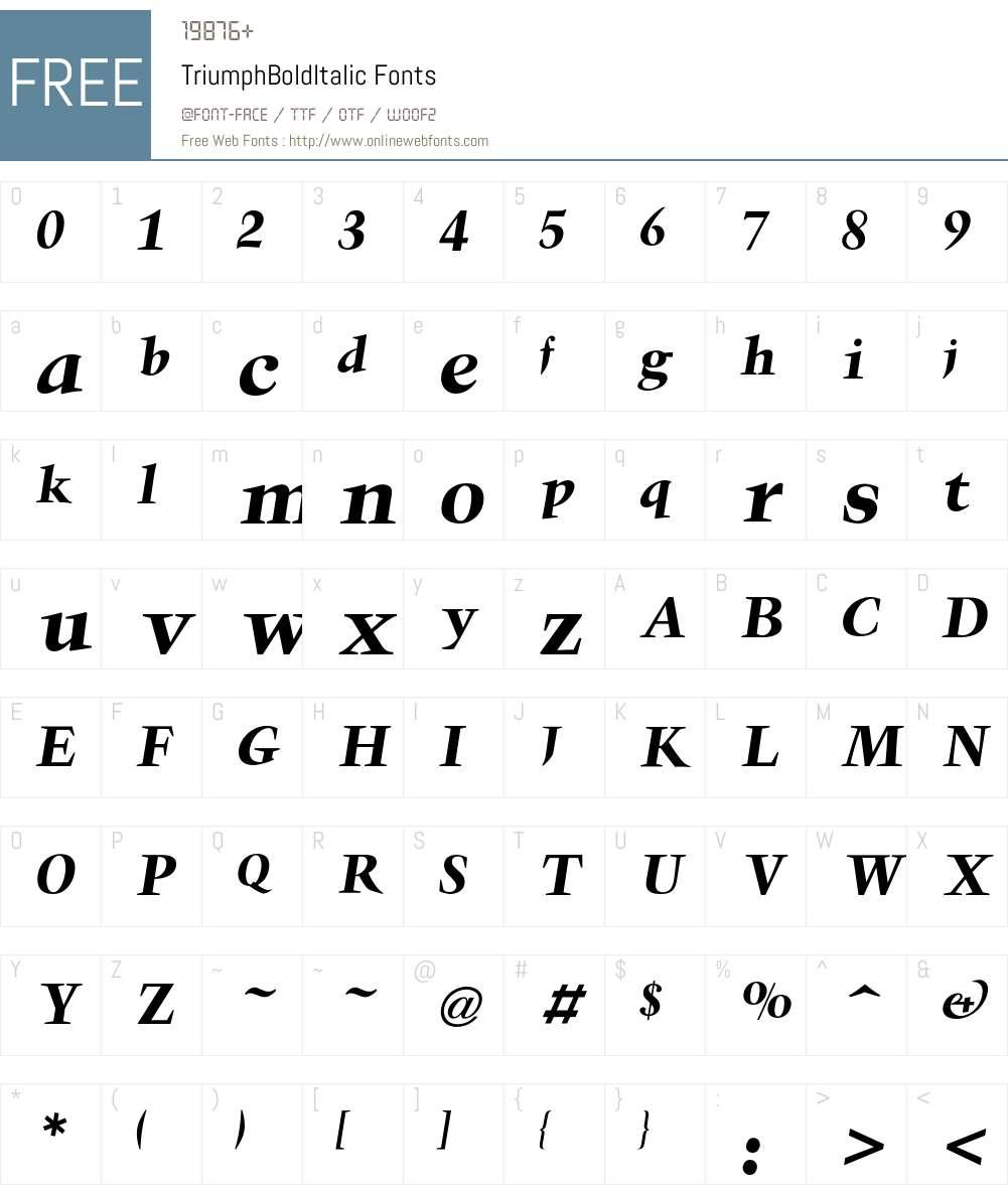 Triumph Font Screenshots