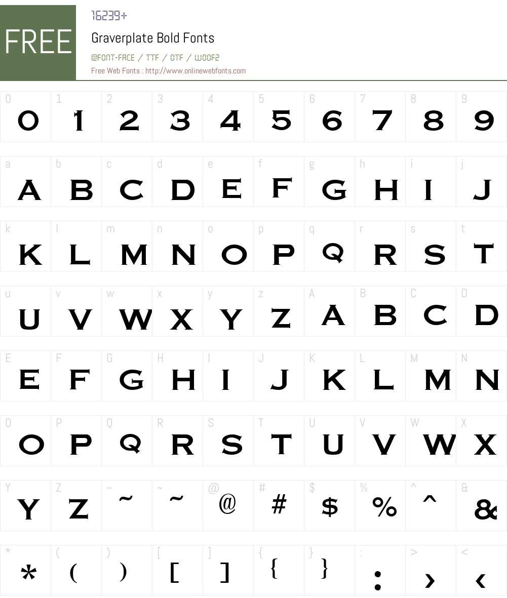 Graverplate Font Screenshots