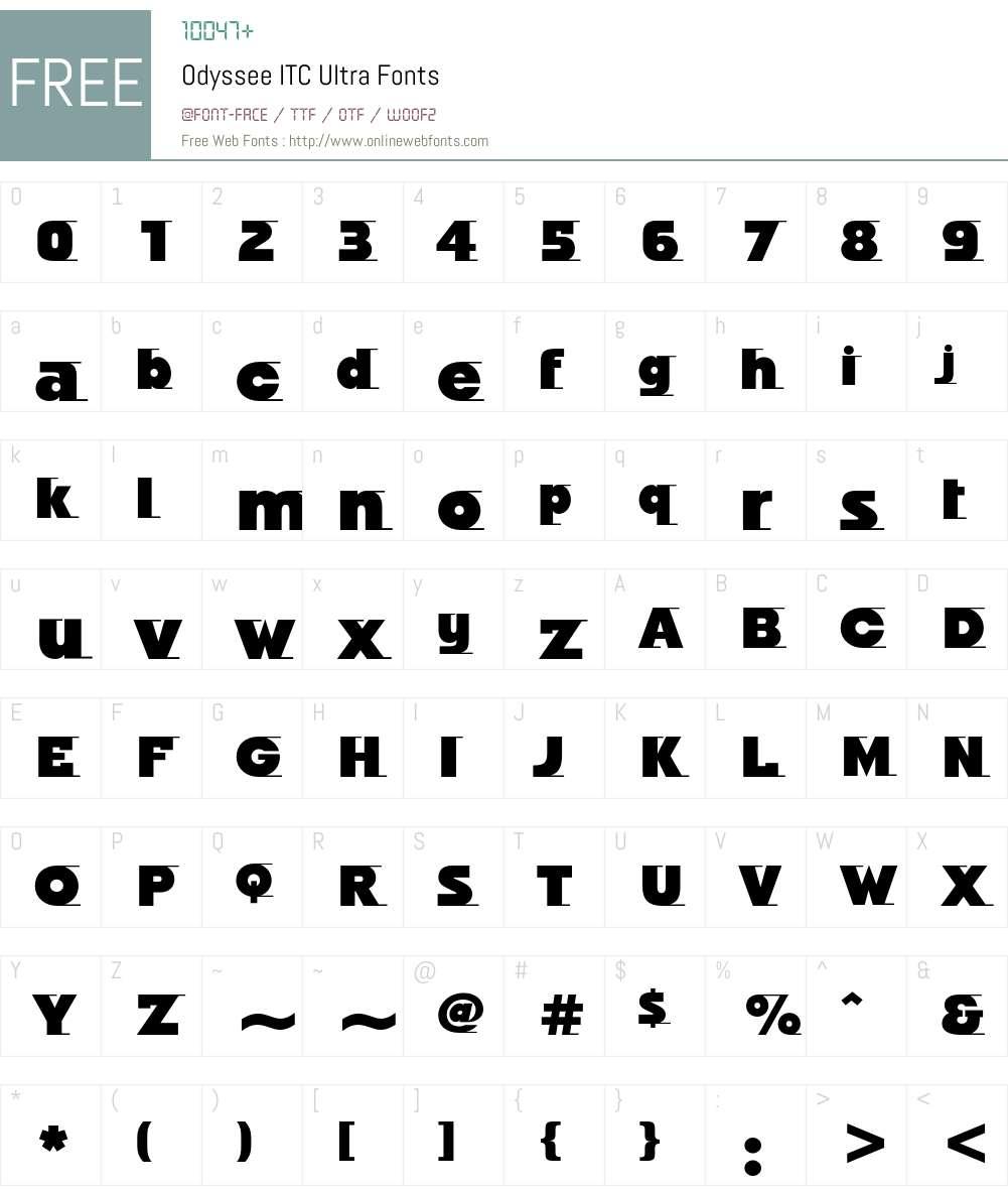Odyssee ITC Font Screenshots