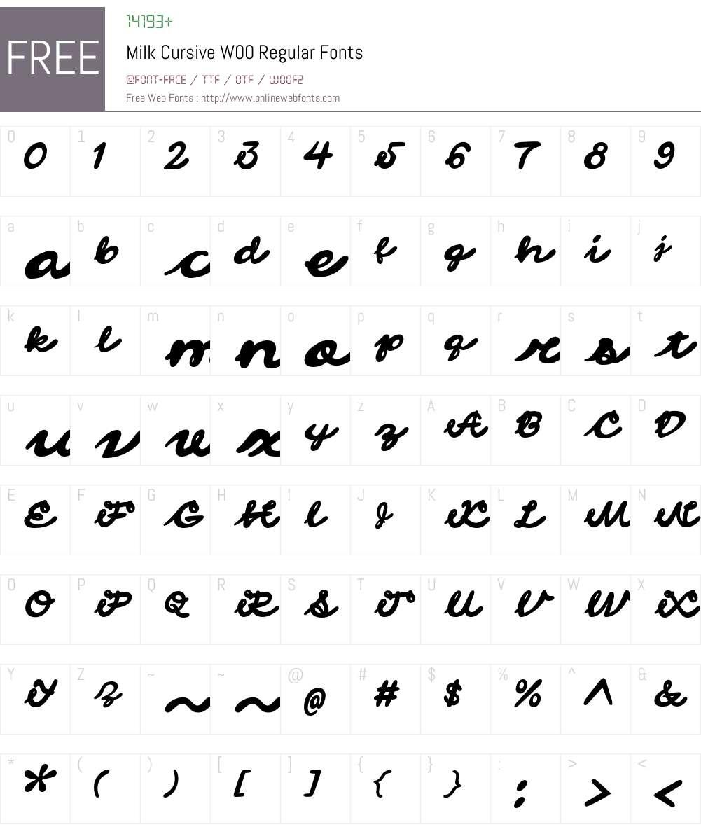 MilkCursiveW00-Regular Font Screenshots
