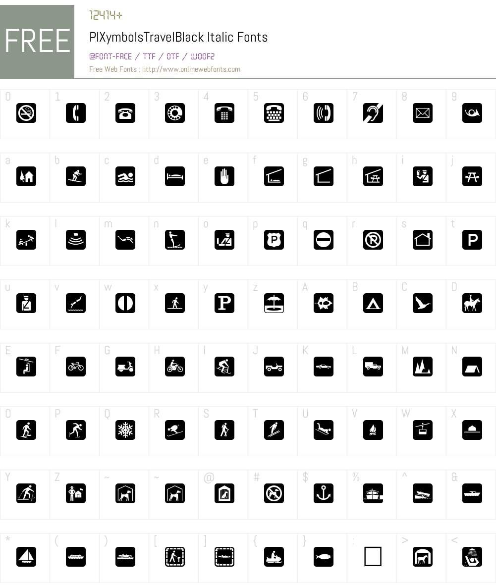 PIXymbolsTravelBlack-Italic Font Screenshots