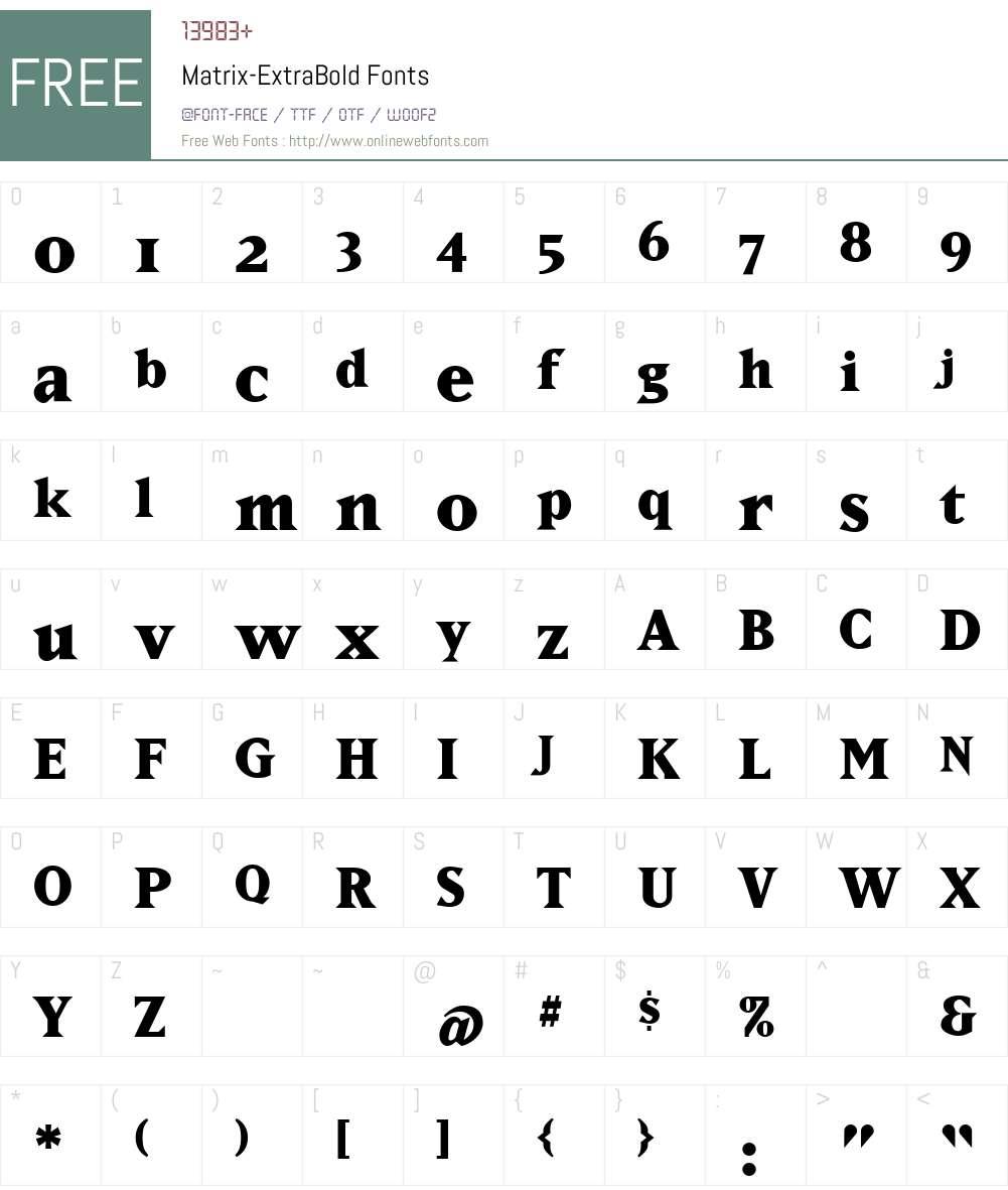 Matrix-ExtraBold Font Screenshots