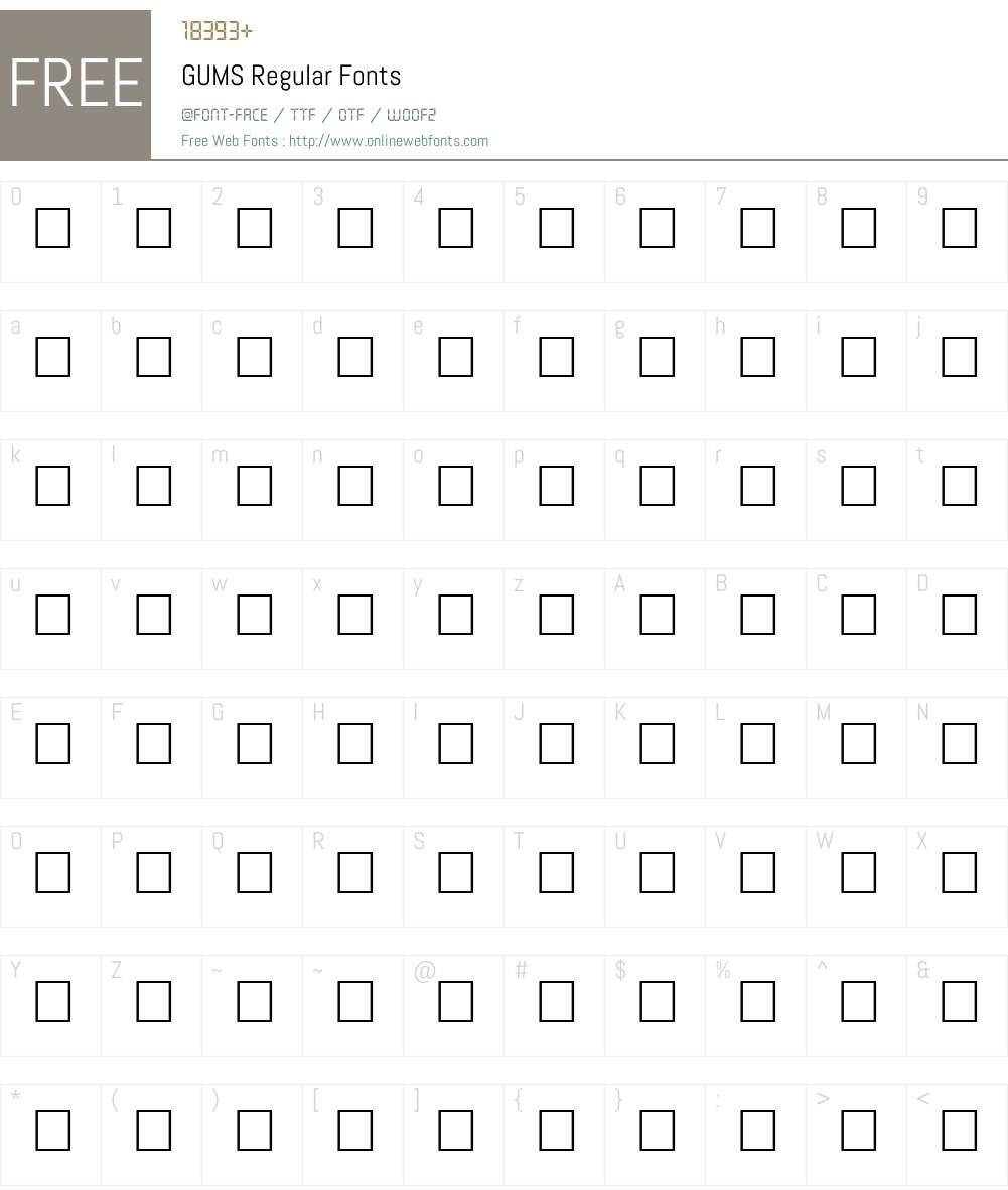 GUMS Font Screenshots