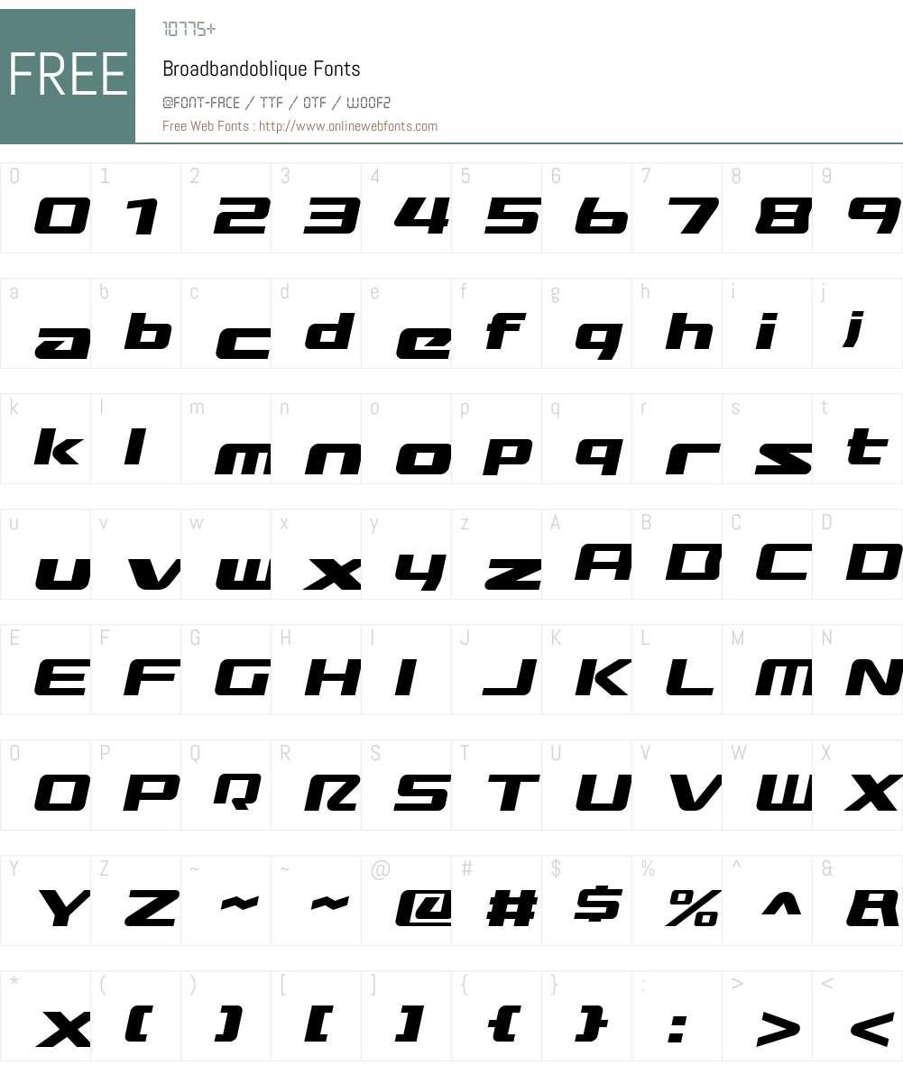Broadbandoblique Font Screenshots