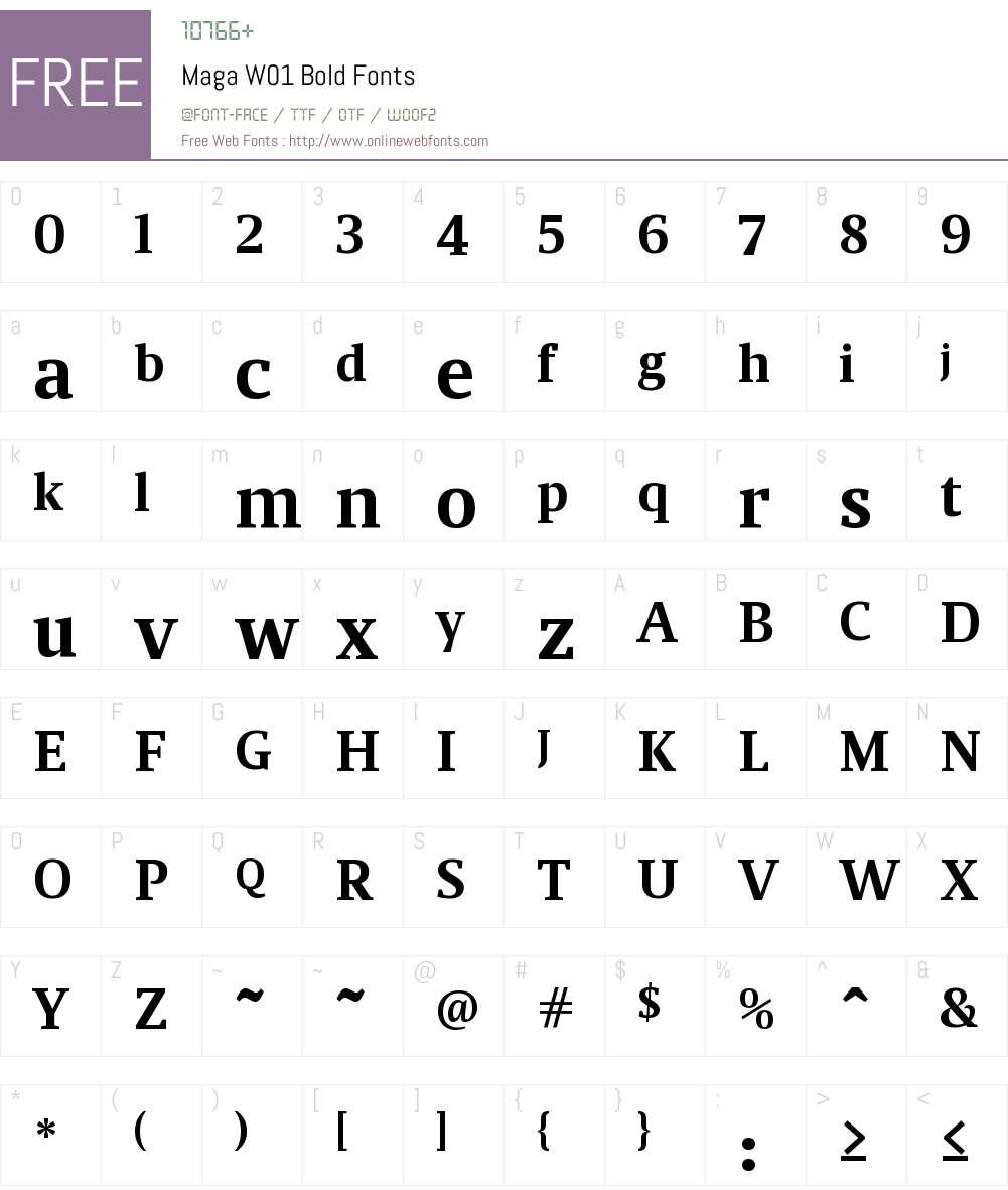 MagaW01-Bold Font Screenshots