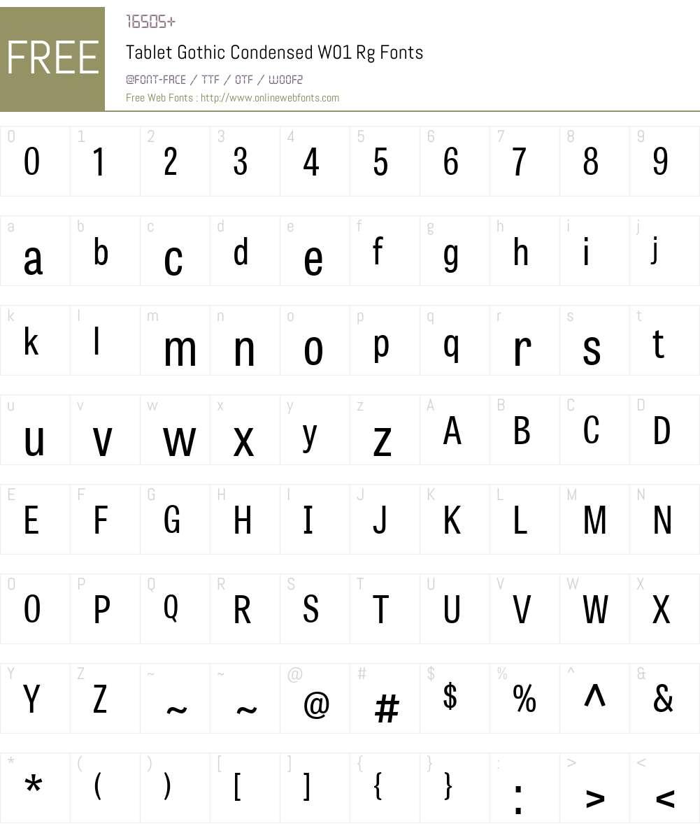 TabletGothicCondensedW01-Rg Font Screenshots