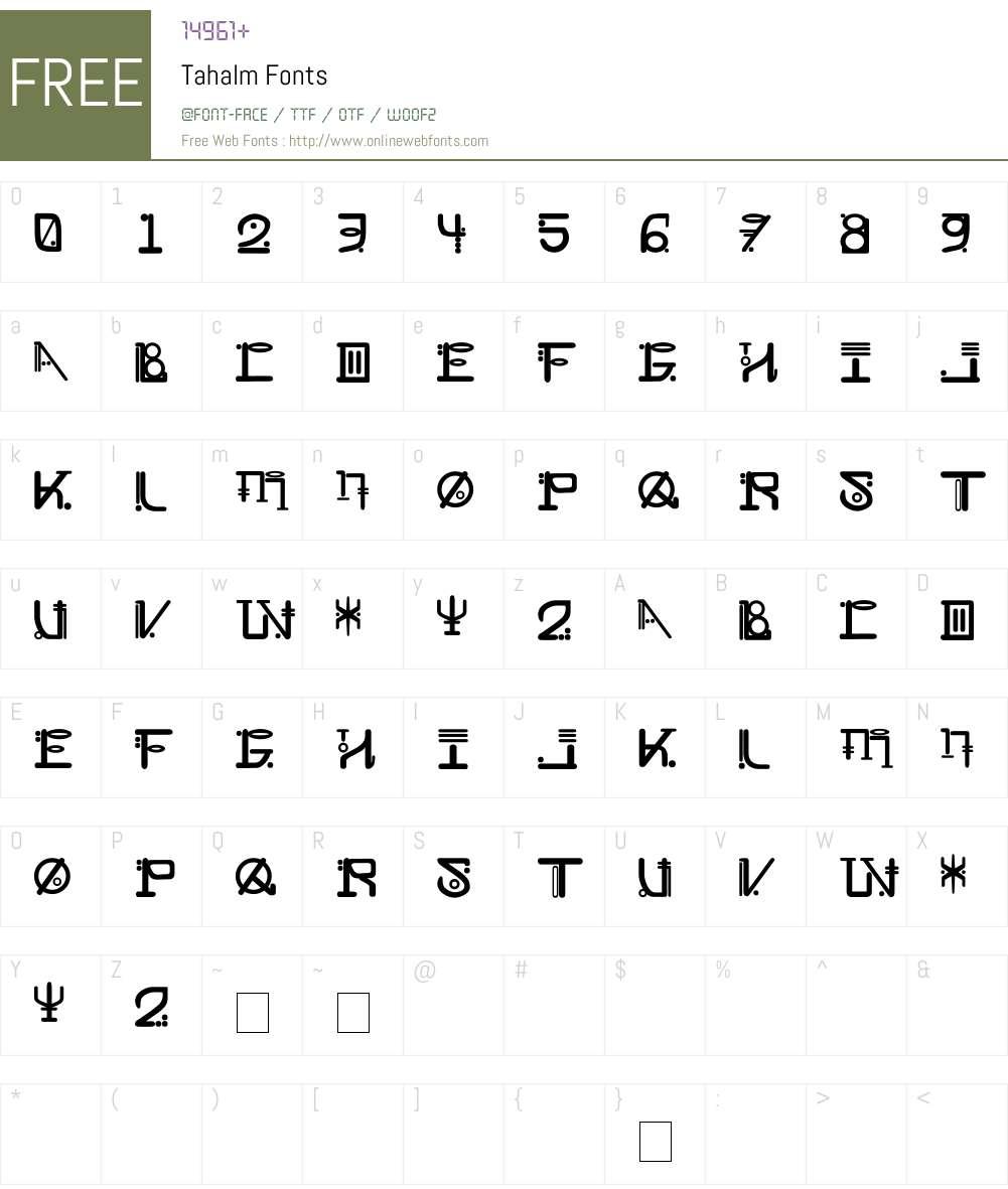 Tahalm Font Screenshots