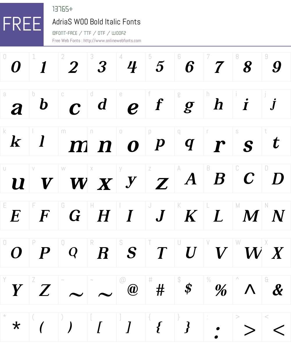 AdriaSW00-BoldItalic Font Screenshots