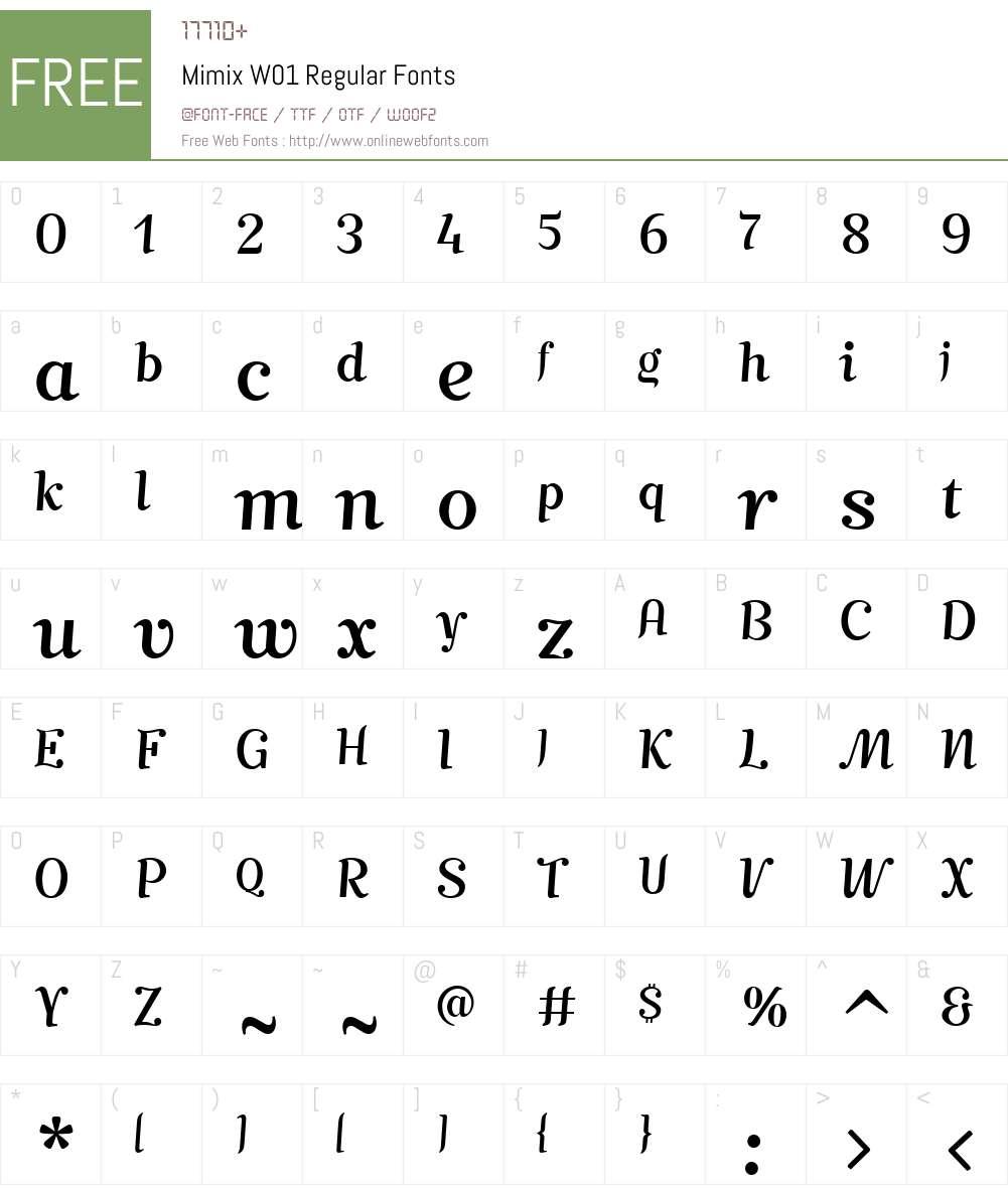 MimixW01-Regular Font Screenshots