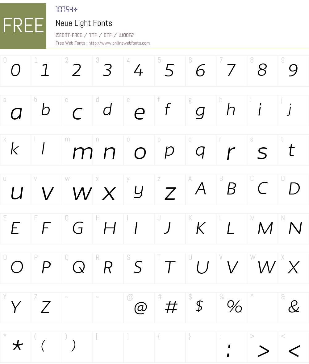 Neue Light Font Screenshots