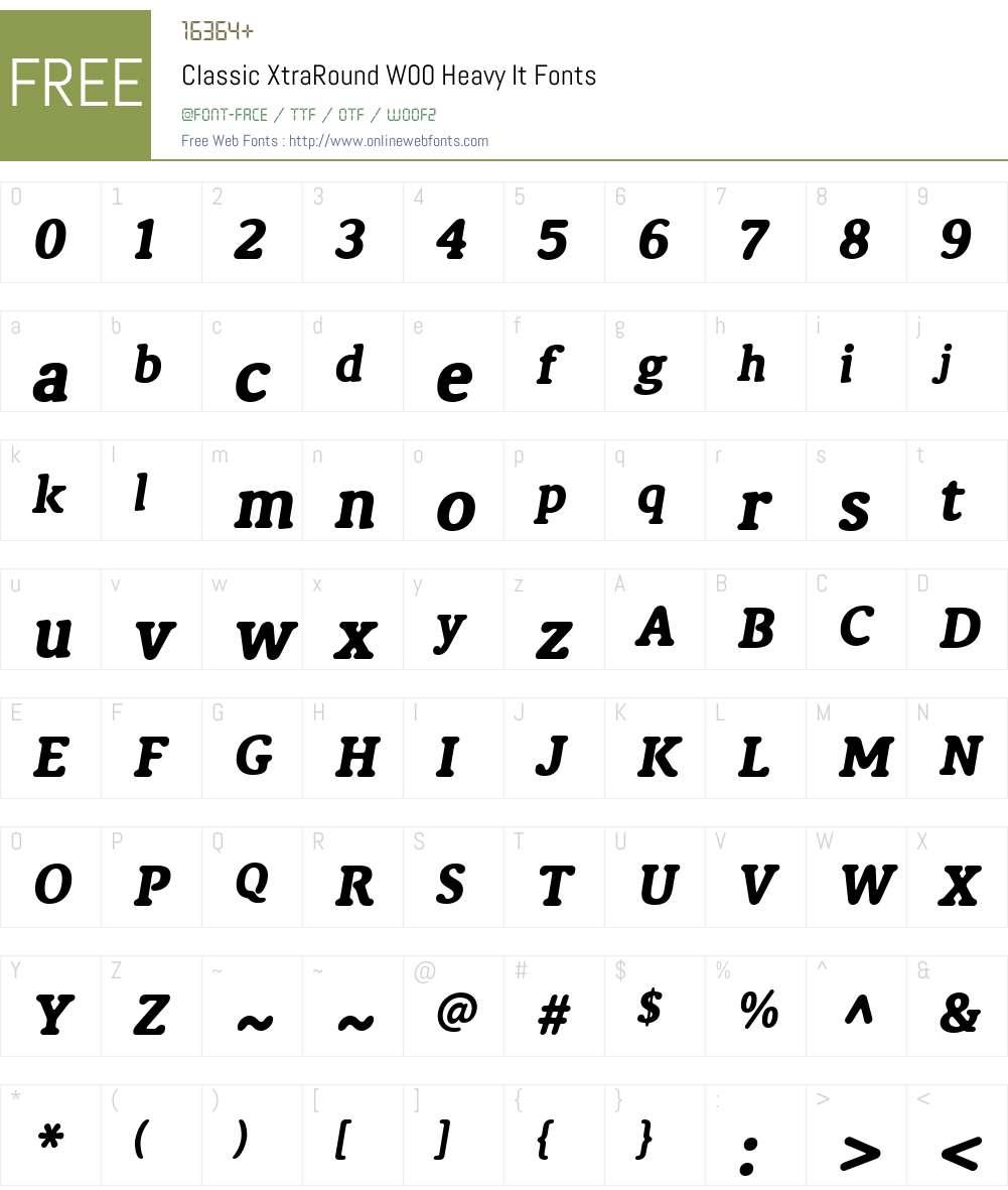 ClassicXtraRoundW00-HeavyIt Font Screenshots