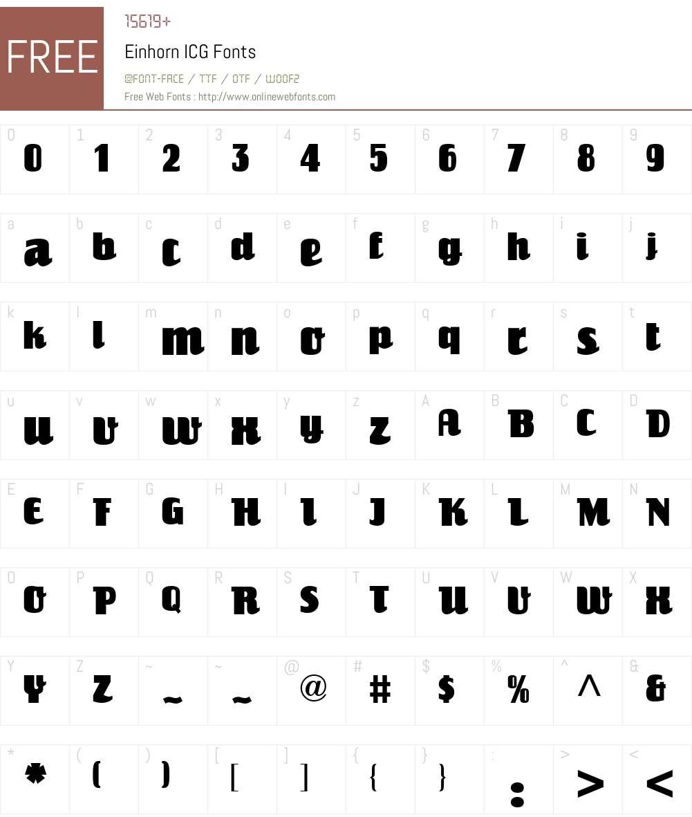 Einhorn ICG Font Screenshots