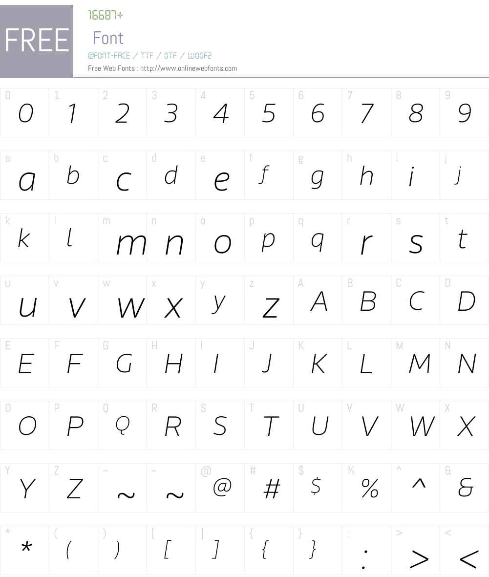 RionaSansW01-ThinItalic Font Screenshots