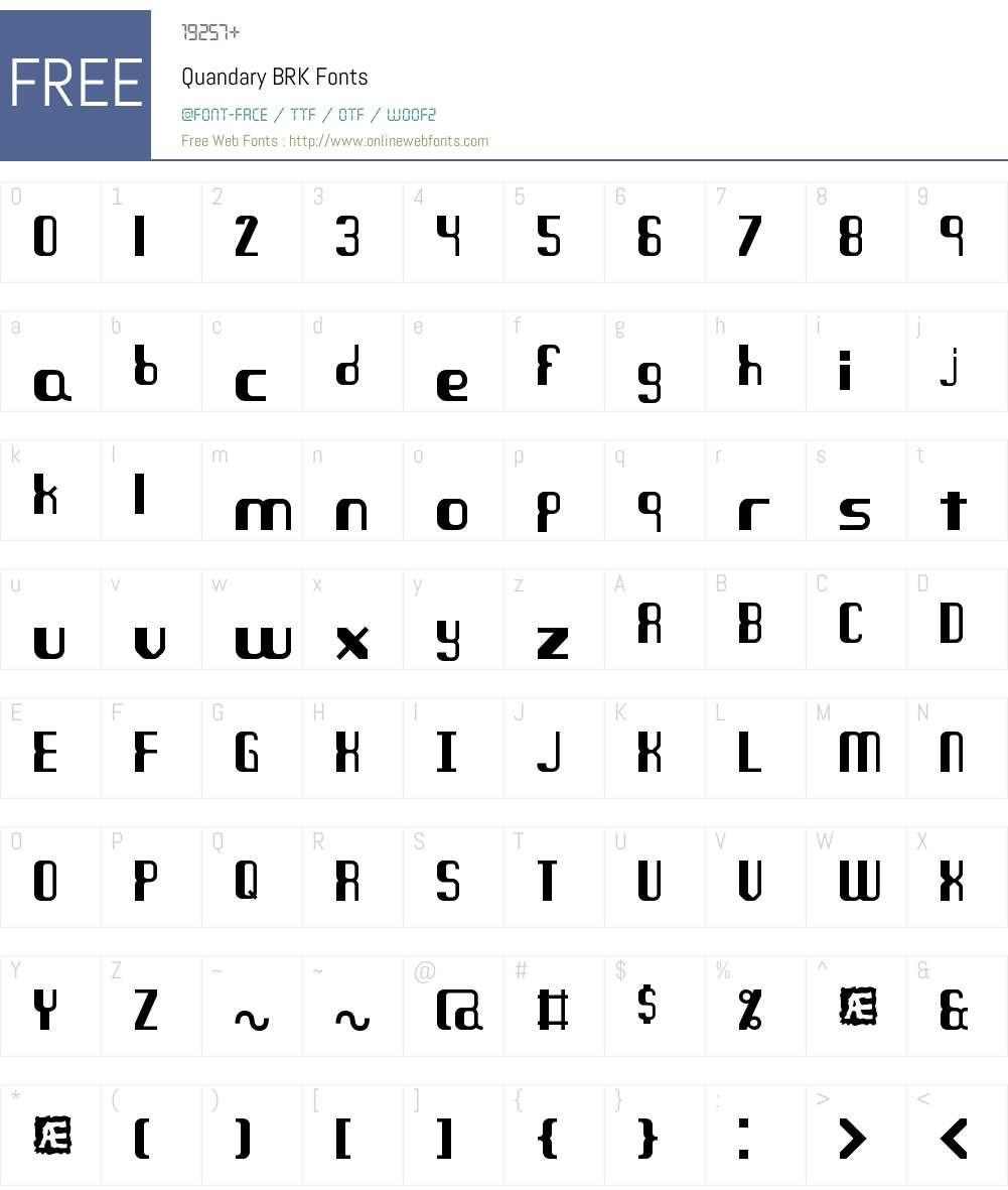 Quandary BRK Font Screenshots