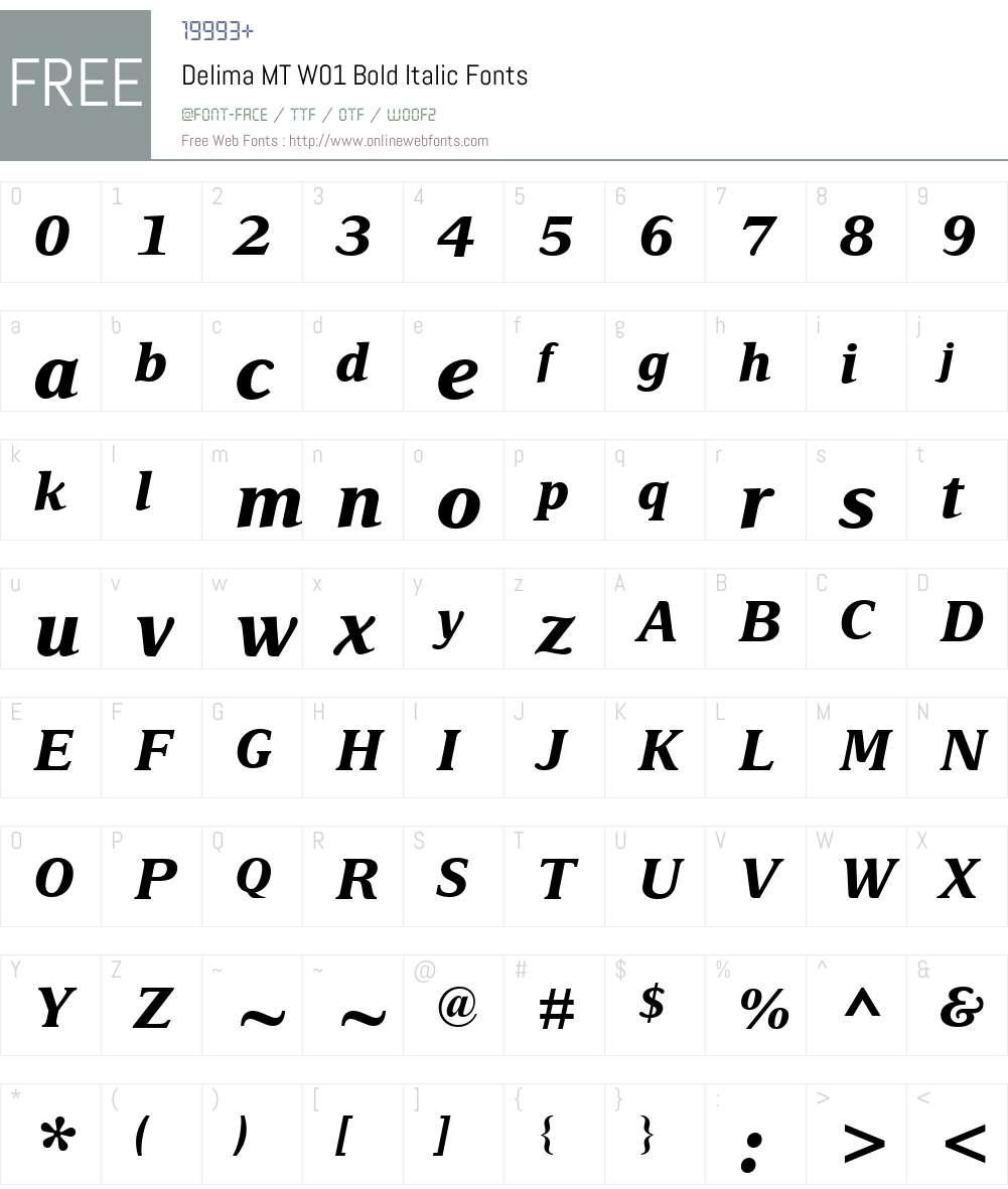 DelimaMTW01-BoldItalic Font Screenshots