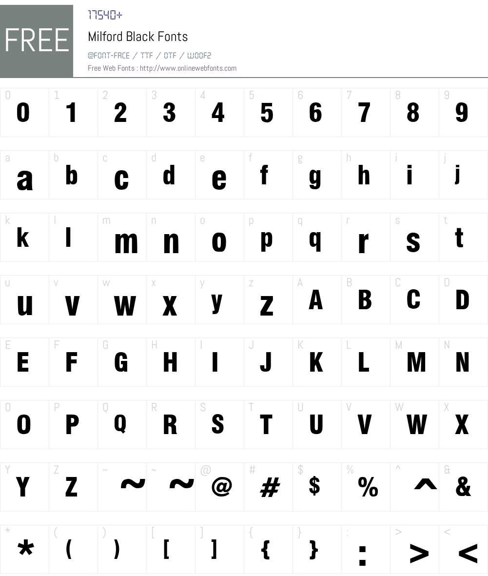 Milford Black Font Screenshots