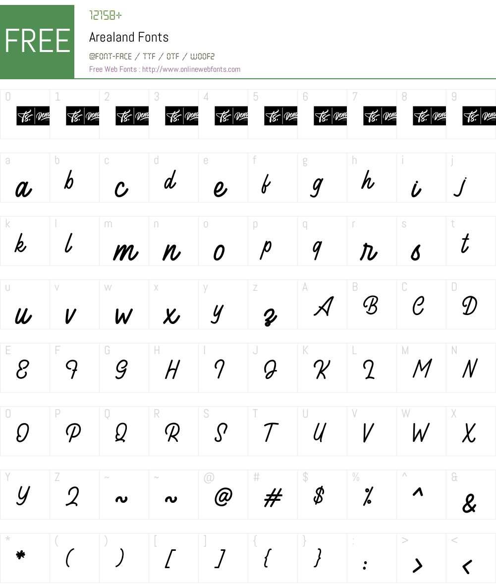 Arealand Font Screenshots