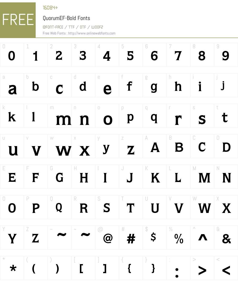 QuorumEF-Bold Font Screenshots