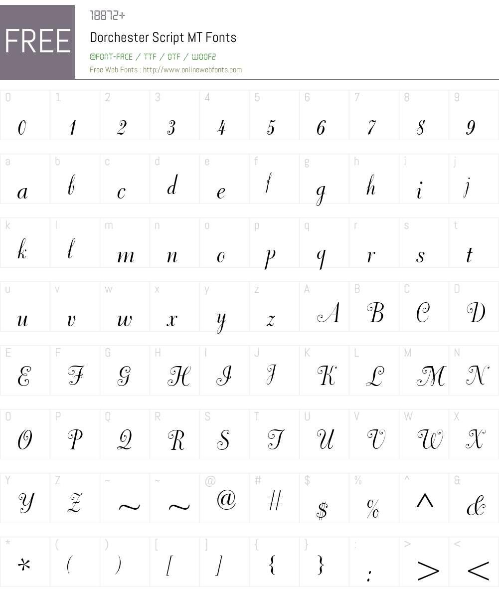 Dorchester Script MT Font Screenshots