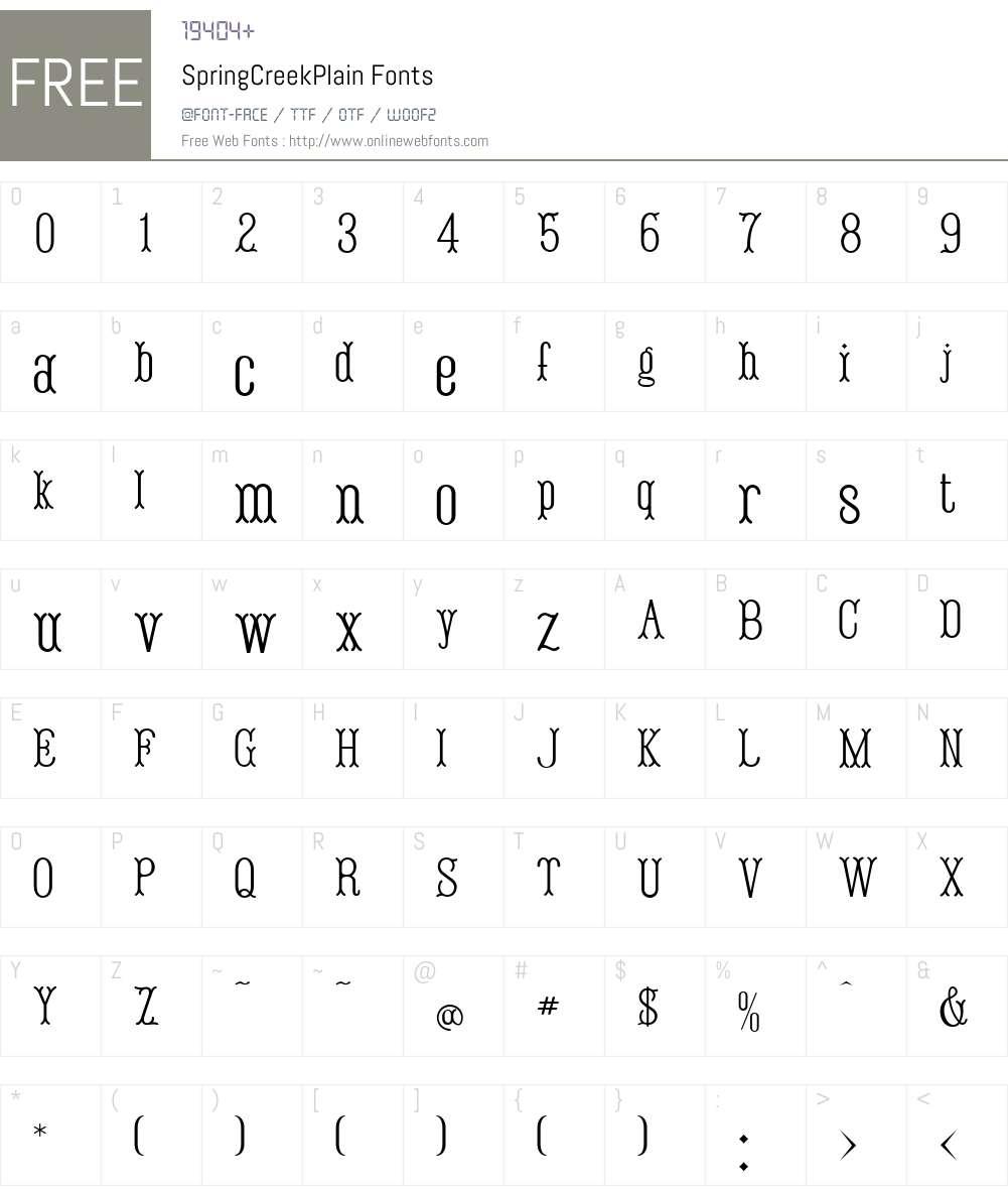 SpringCreekW01-Plain Font Screenshots