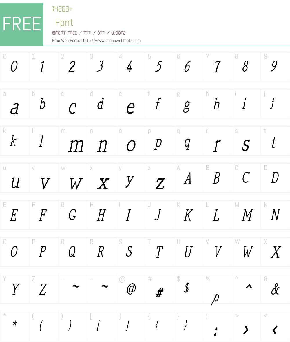 QuickTypeW01-CondItalic Font Screenshots