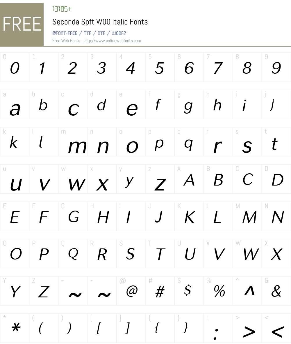 SecondaSoftW00-Italic Font Screenshots