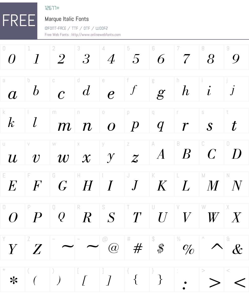 Marque Font Screenshots