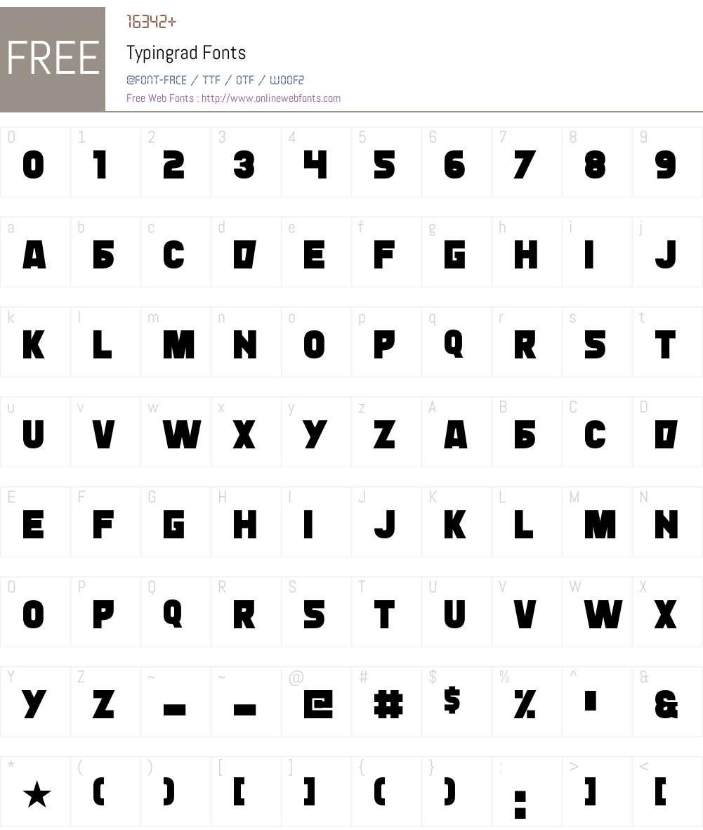 Typingrad Font Screenshots