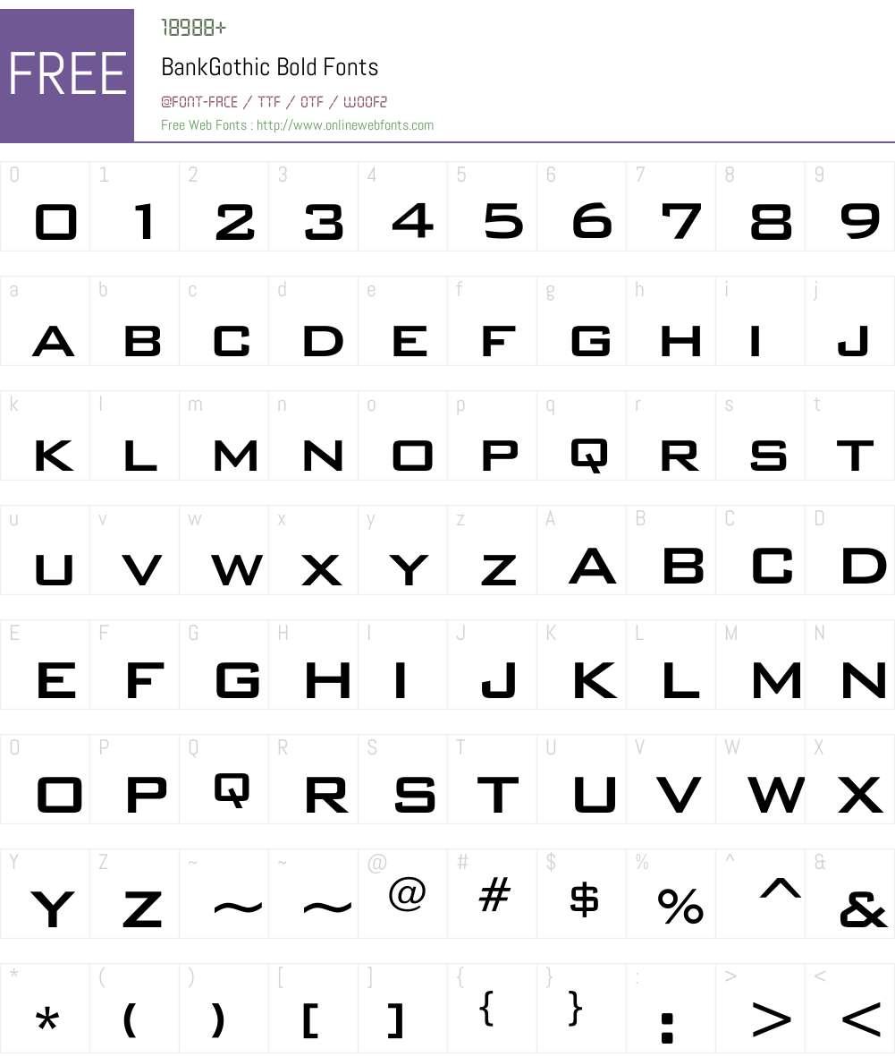 BankGothic Font Screenshots