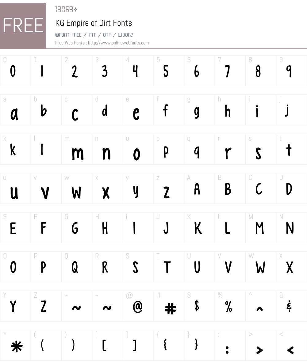 KG Empire of Dirt Font Screenshots