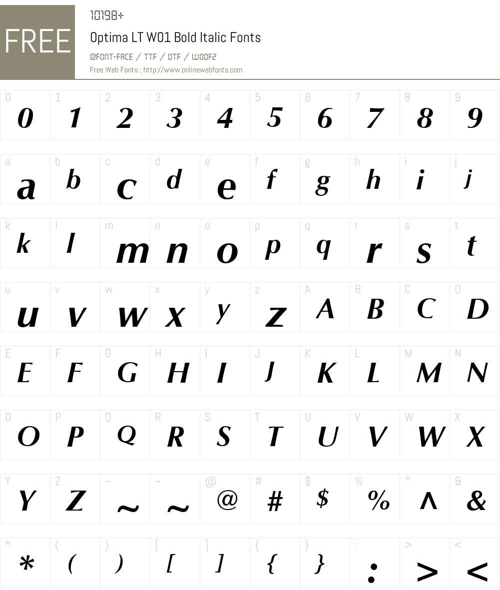 OptimaLTW01-BoldItalic Font Screenshots