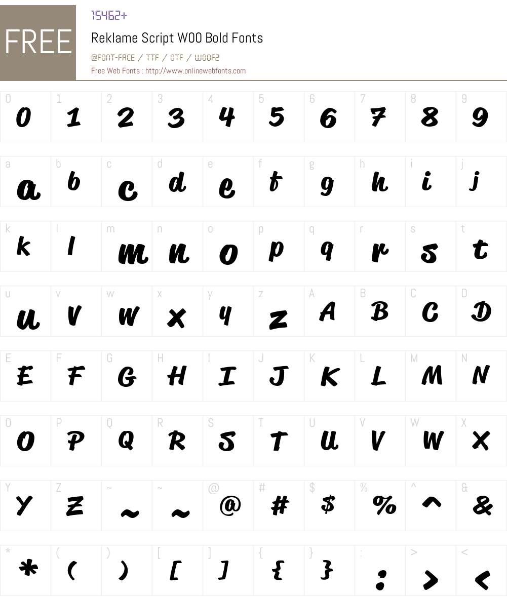 ReklameScriptW00-Bold Font Screenshots
