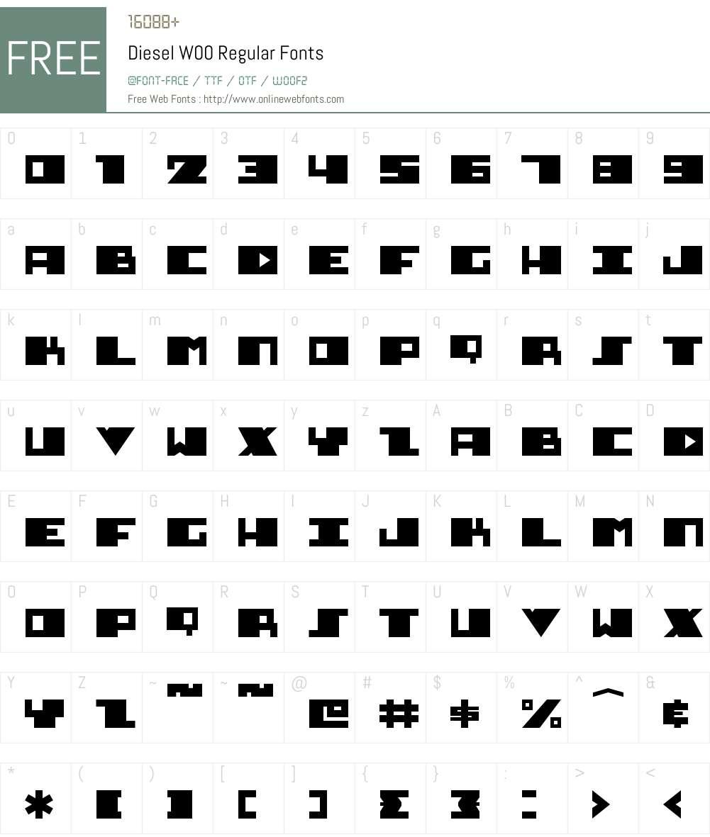 DieselW00-Regular Font Screenshots