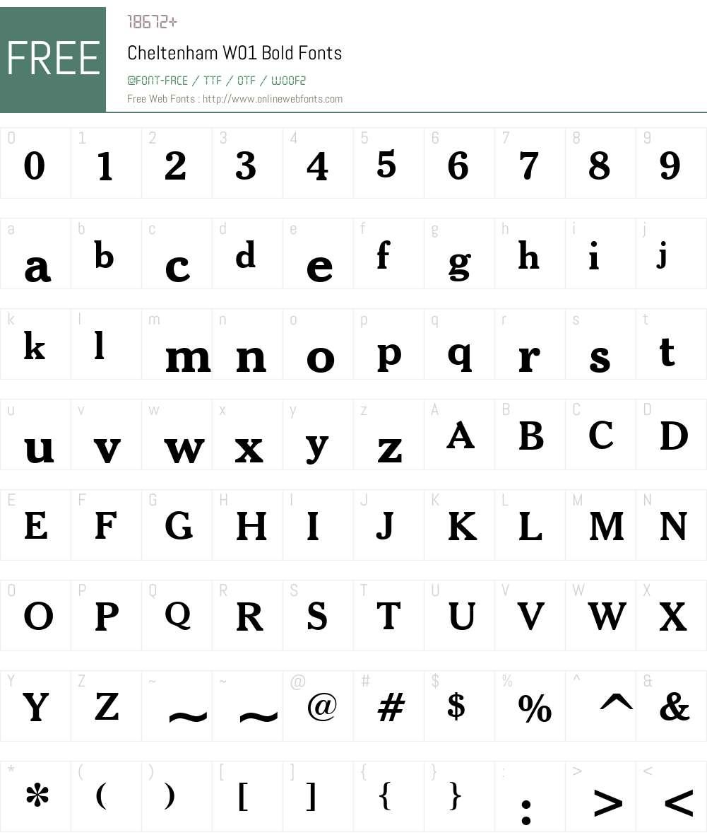 CheltenhamW01-Bold Font Screenshots