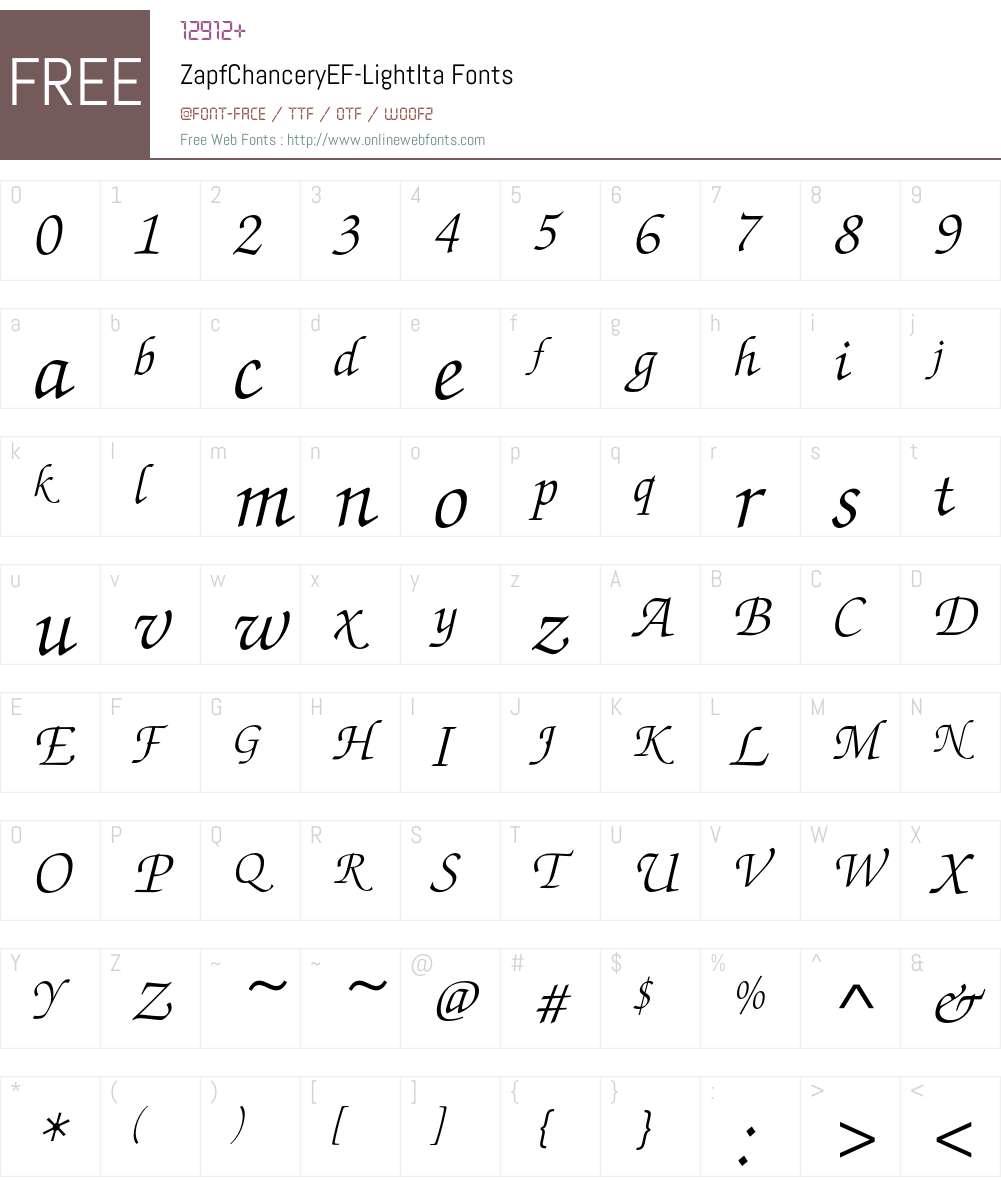 ZapfChanceryEF Font Screenshots