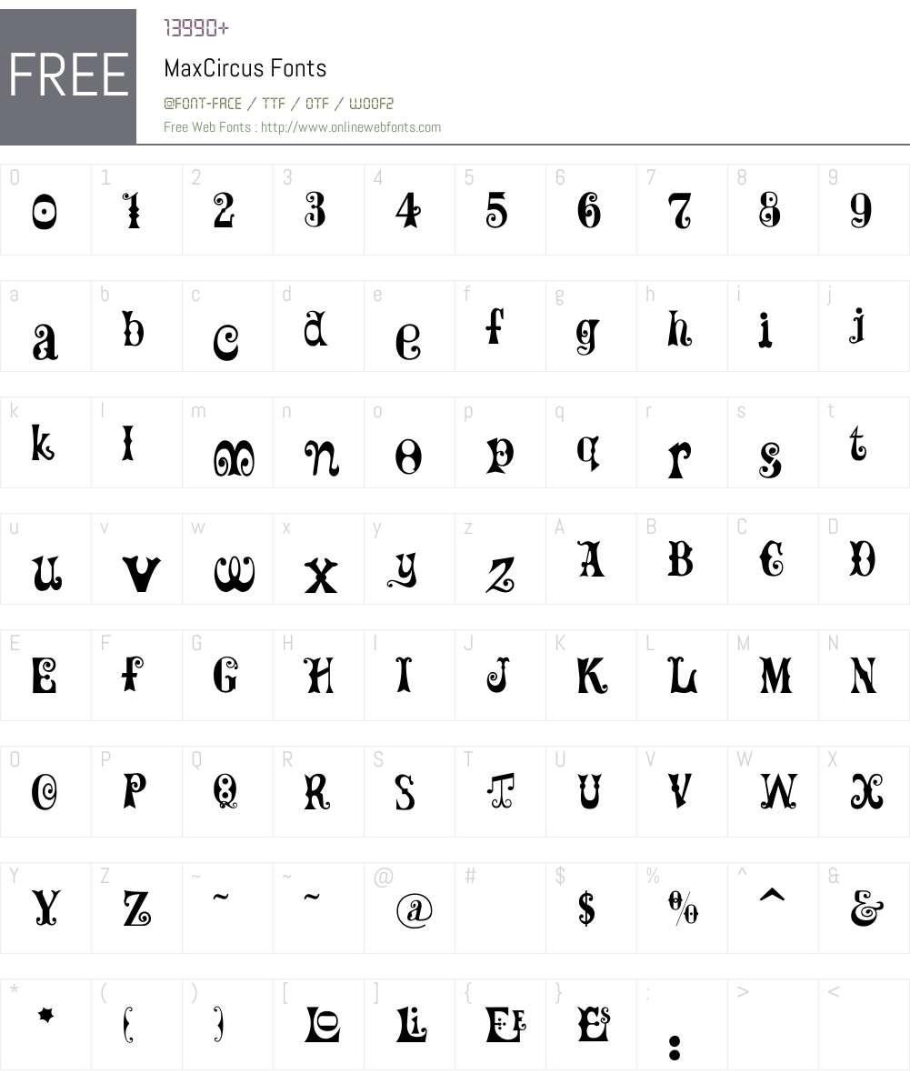 MaxCircus Font Screenshots
