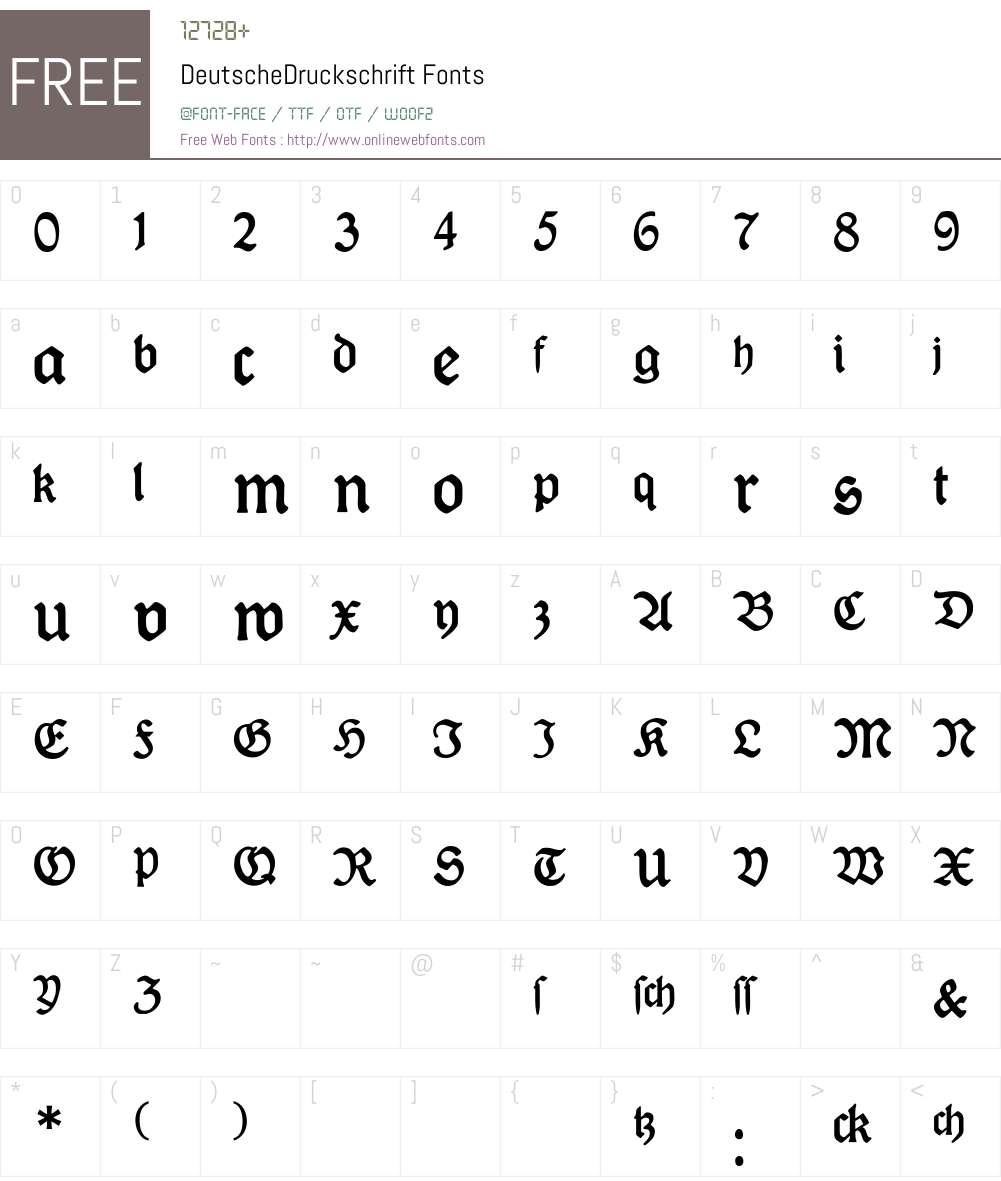 DeutscheDruckschrift Font Screenshots