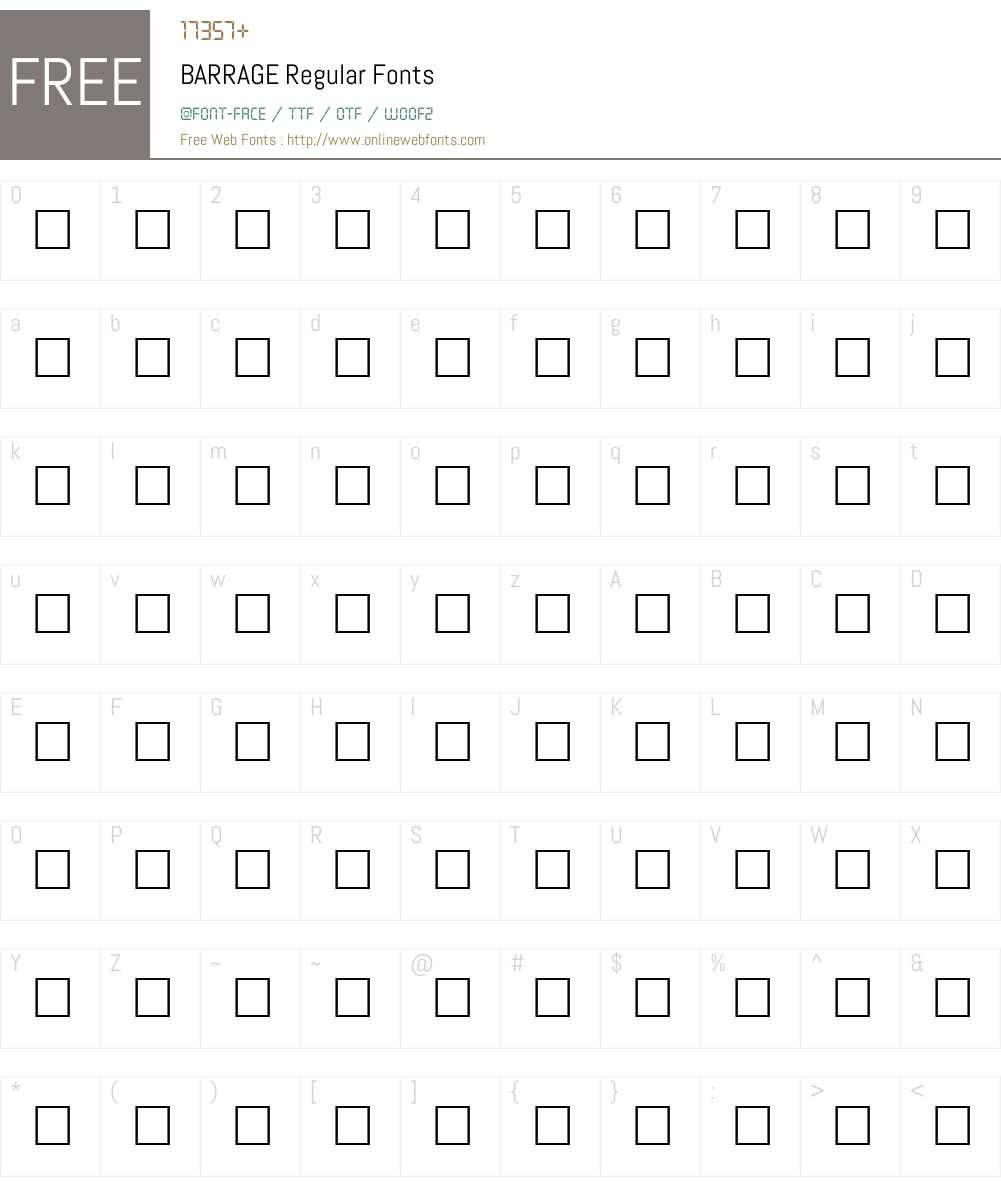 BARRAGE Font Screenshots