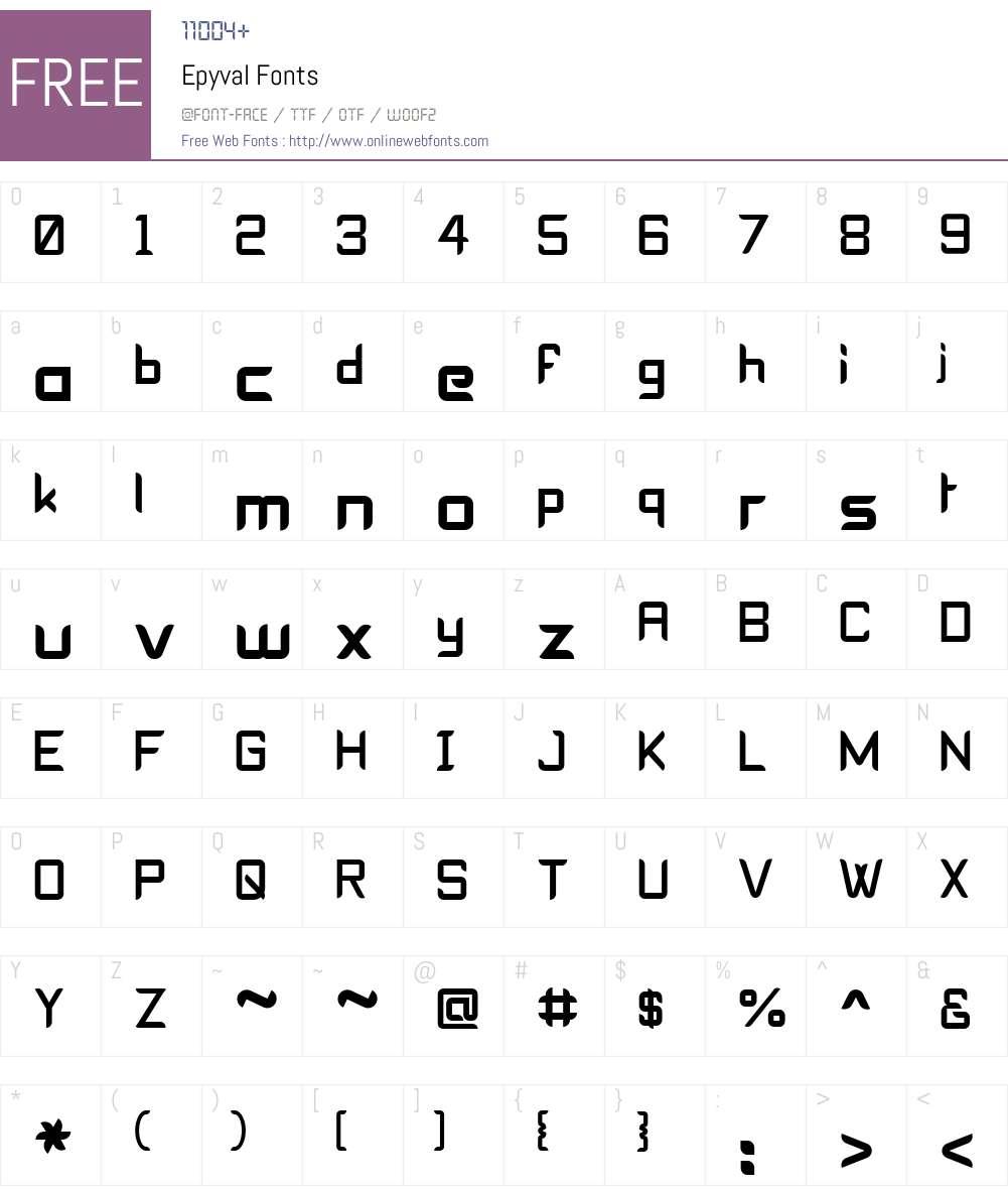Epyval Font Screenshots
