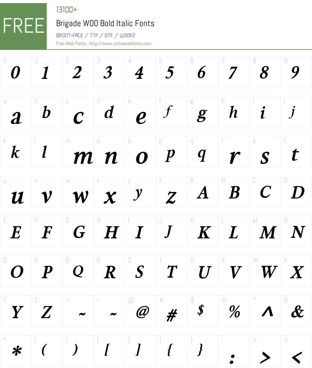 BrigadeW00-BoldItalic Font Screenshots