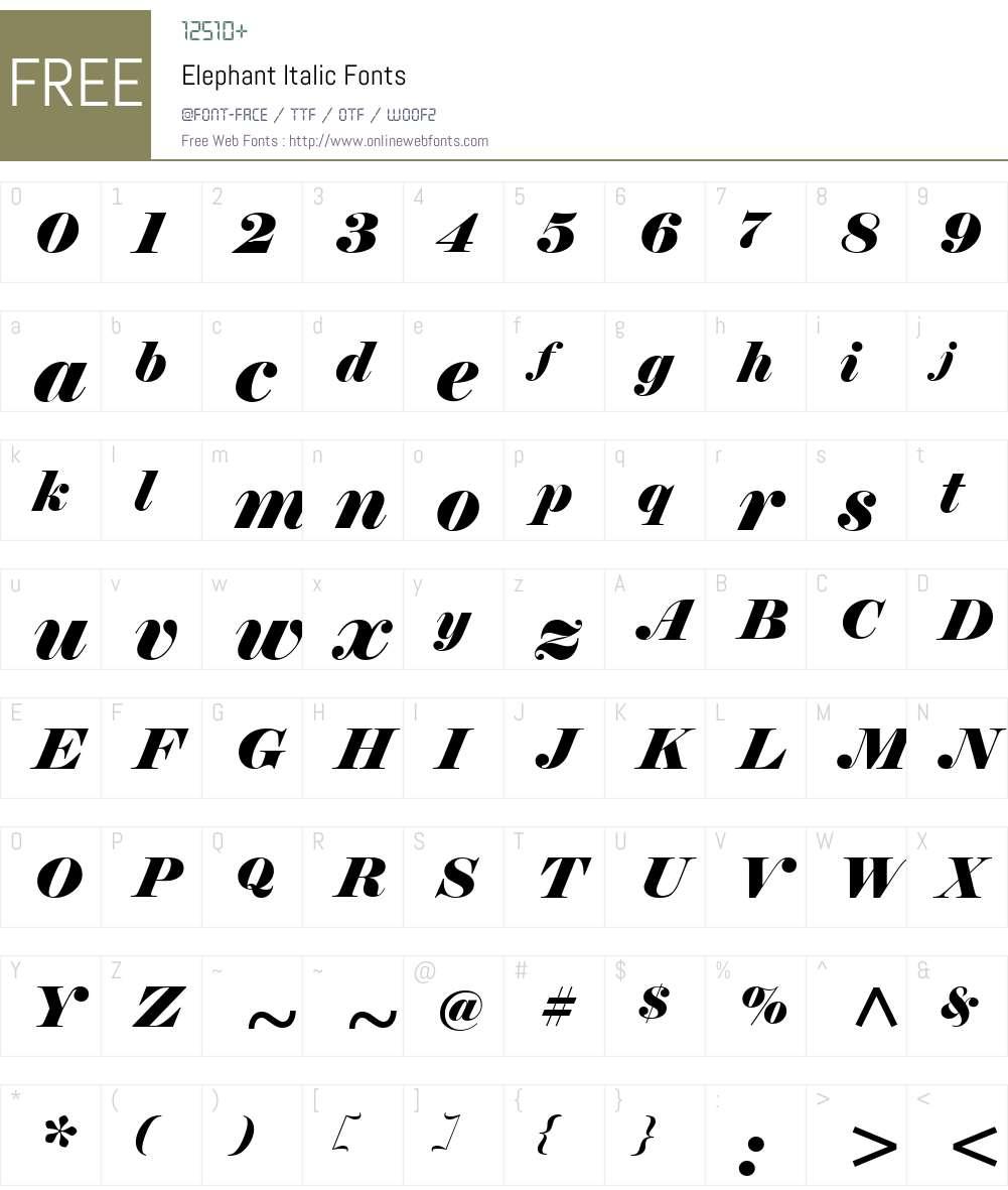Elephant Font Screenshots