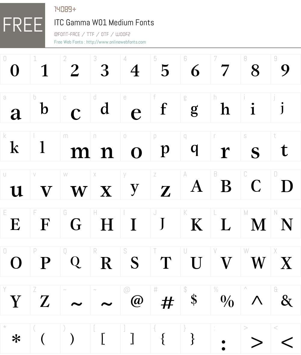 ITCGammaW01-Medium Font Screenshots