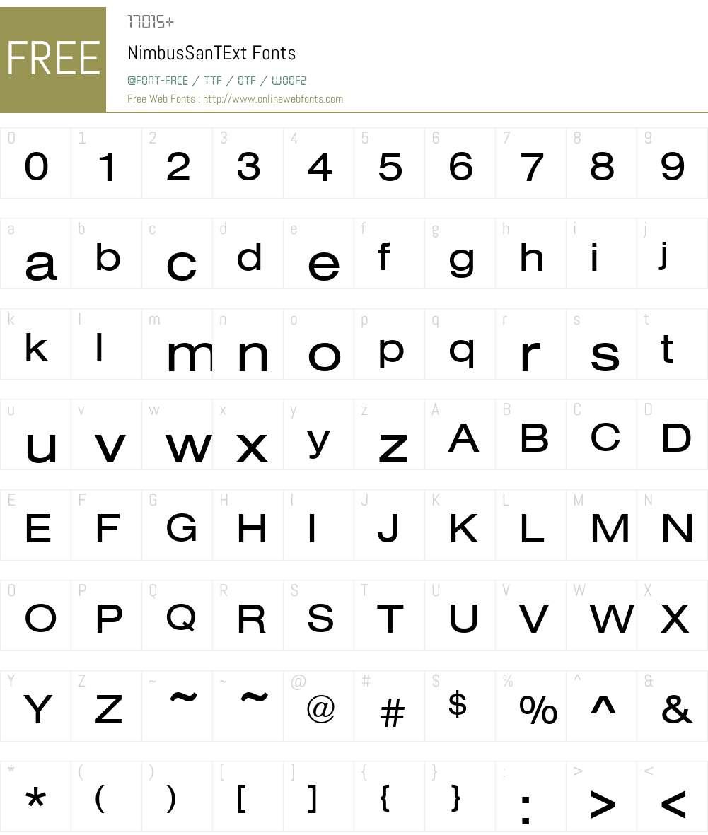 NimbusSanTExt Font Screenshots