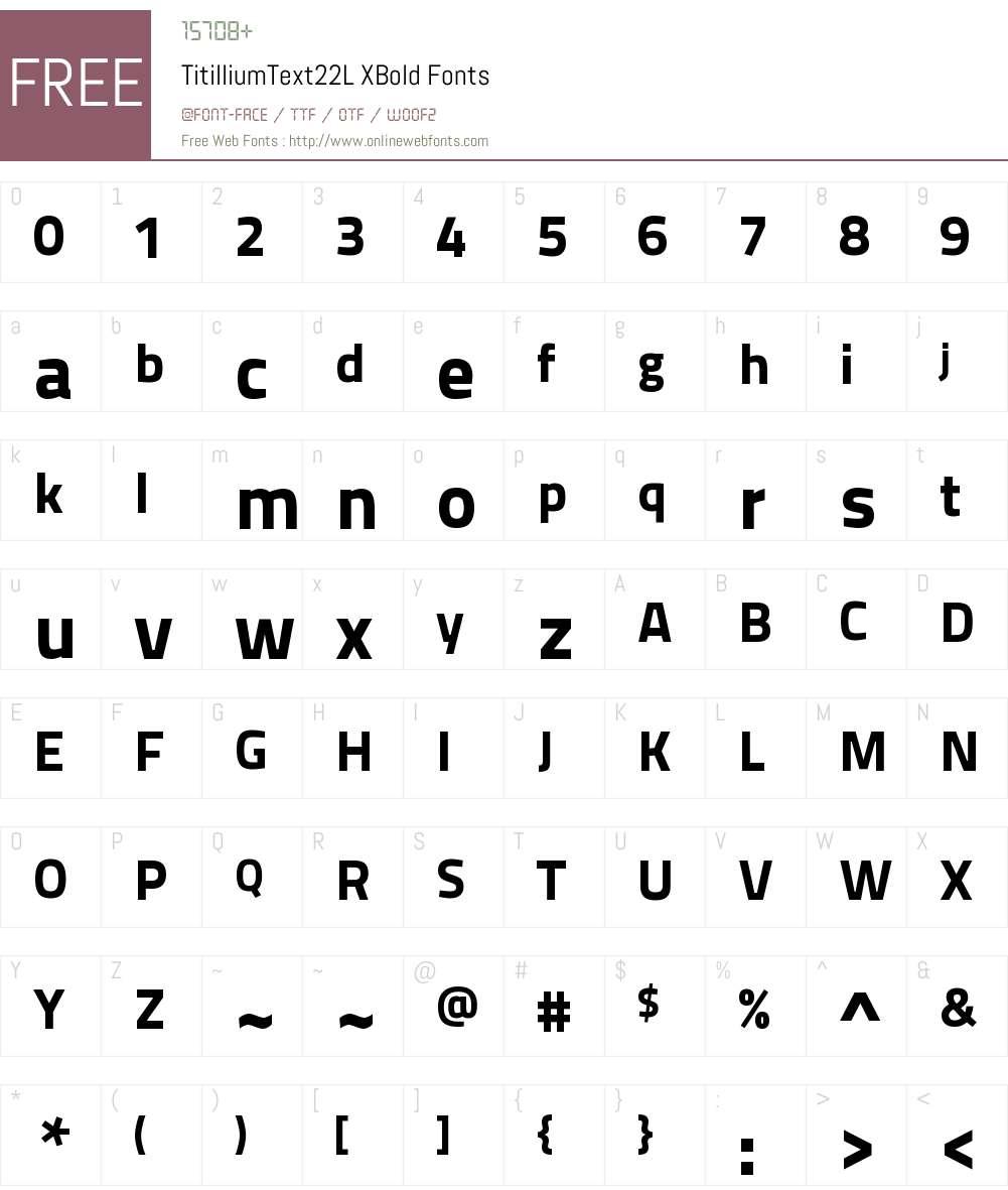 TitilliumText22L Xb Font Screenshots