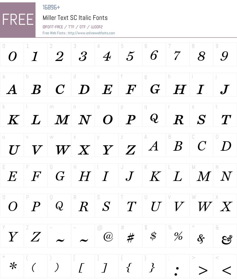 Miller Font Screenshots